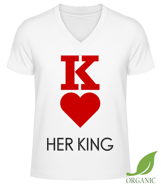 Her King - T-shirt bio col en V James - Blanc - Vorn