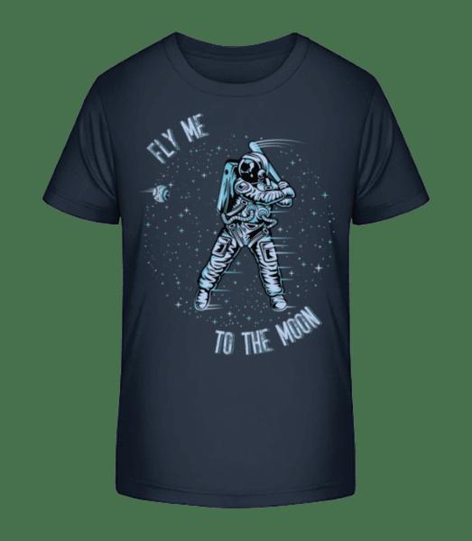 Fly Me To The Moon - Detské Premium Bio tričko - Namořnická modrá - Napřed