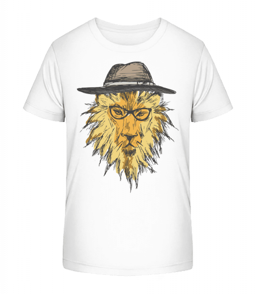 Hipster Lion - Kid's Premium Bio T-Shirt - White - Vorn