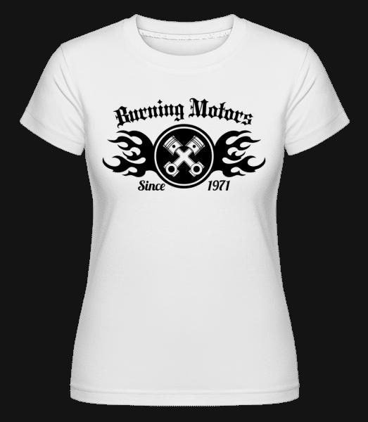 Burning Motors Biker -  Shirtinator Women's T-Shirt - White - Front
