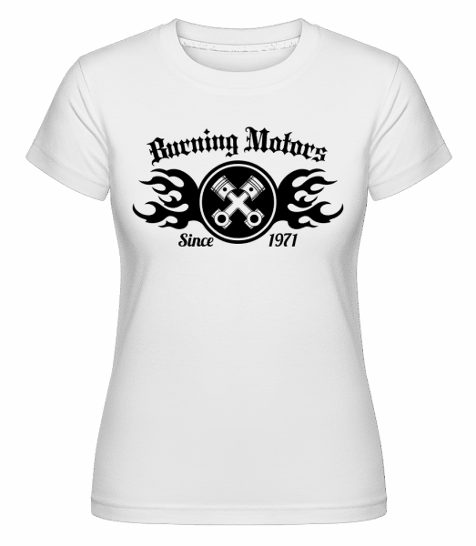 Burning Motors Biker -  Shirtinator Women's T-Shirt - White - Vorn