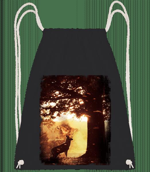 Sun Deer - Drawstring Backpack - Black - Vorn
