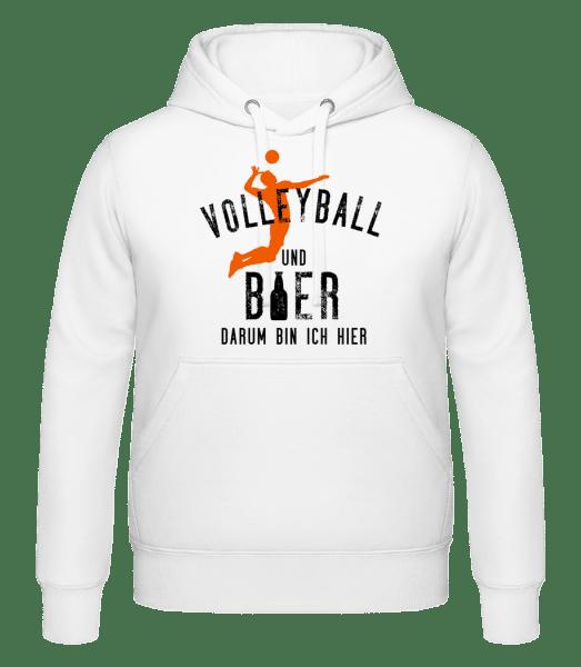 Volleyball Und Bier - Kapuzenhoodie - Weiß - Vorn