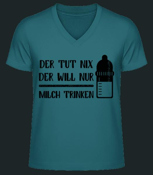 Der Tut Nix Nur Milch Trinken - Männer Bio T-Shirt V-Ausschnitt - Petrol - Vorn