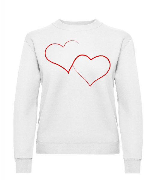 Deux Cœurs - Sweat-shirt classique avec manches set-in pour femme - Blanc - Devant