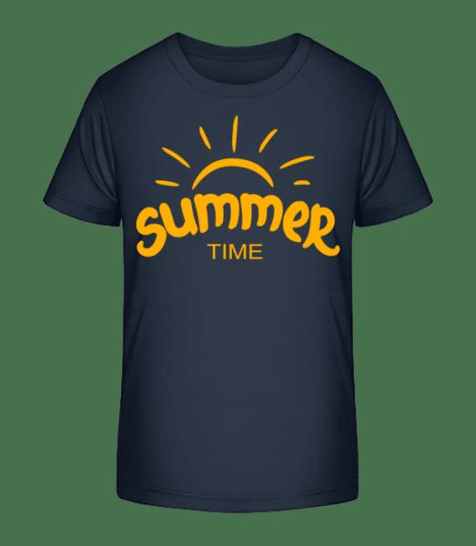 Summer Time Yellow - Kid's Premium Bio T-Shirt - Navy - Vorn