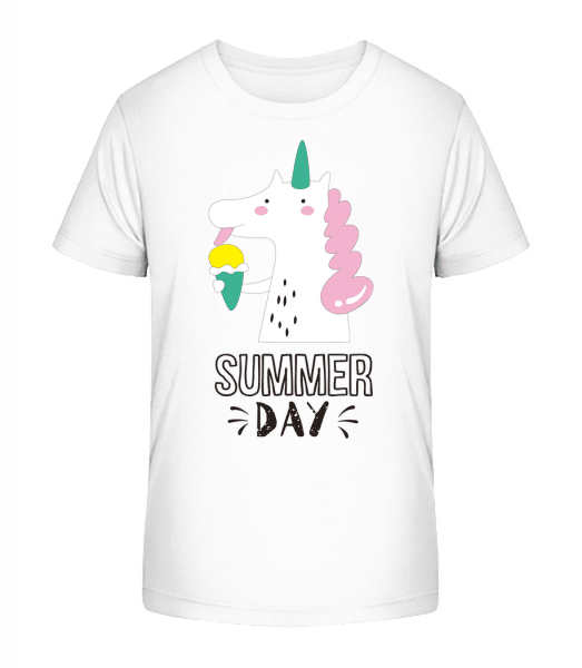 Summer Day Unicorn - Kid's Premium Bio T-Shirt - White - Vorn