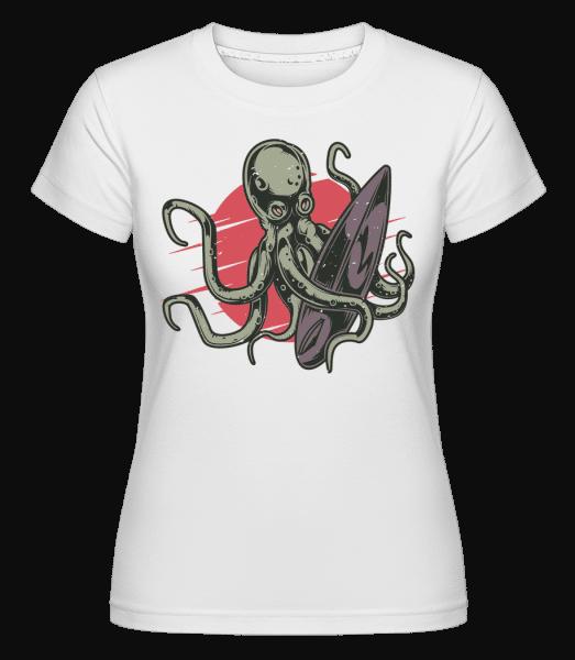 Surfing Octopus -  Shirtinator Women's T-Shirt - White - Front