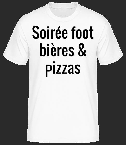 Soirée Foot Bières Et Pizzas - T-shirt standard Homme - Blanc - Devant