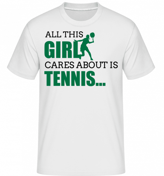 She Only Cares About Tennis -  Shirtinator Men's T-Shirt - White - Vorn