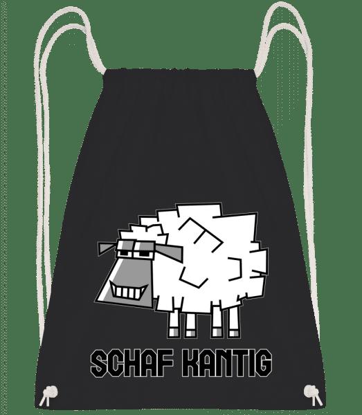 Schaf Kantig - Turnbeutel - Schwarz - Vorn
