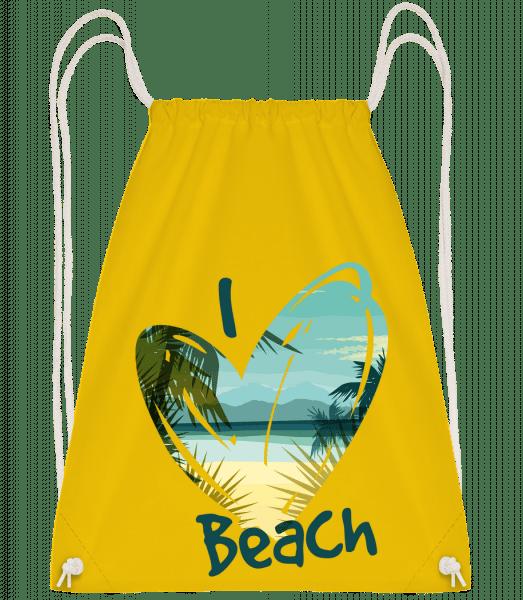 I Love Beach Heart - Drawstring batoh se šňůrkami - Žlutá - Napřed