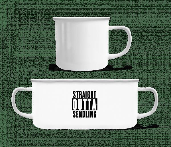 Straight Outta Sendling - Emaille-Tasse - Weiß - Vorn