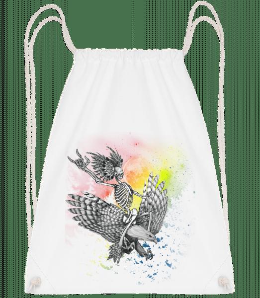 Death Flyer - Drawstring Backpack - White - Vorn