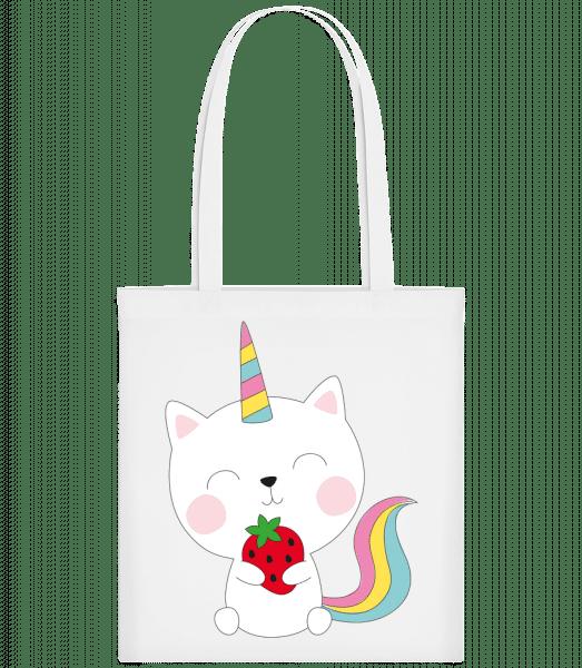 Einhorn Katze Mit Erdbeere - Stoffbeutel - Weiß - Vorn