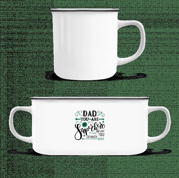 Dad You Are My Superhero - Emaille-Tasse - Weiß - Vorn