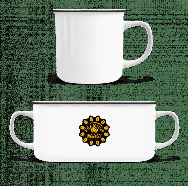 Premium pražená káva - Emaille hrnek - Bílá - Napřed