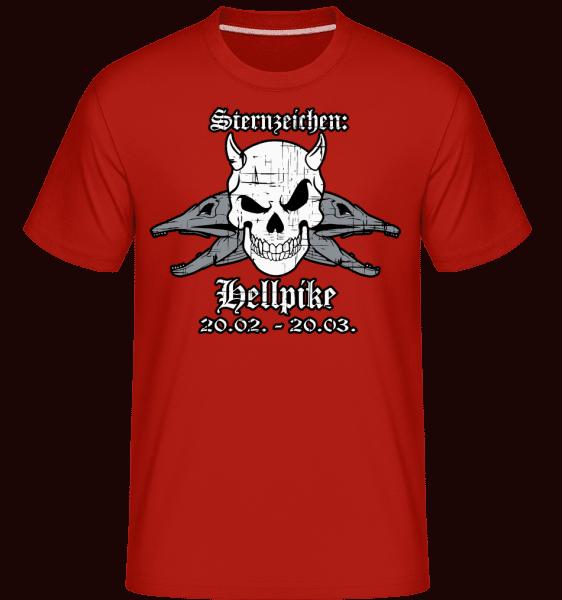 Metal Sternzeichen Hellpike - Shirtinator Männer T-Shirt - Rot - Vorn