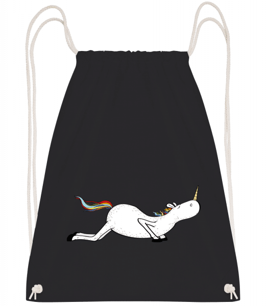 Yoga Unicorn Pushups - Drawstring Backpack - Black - Vorn
