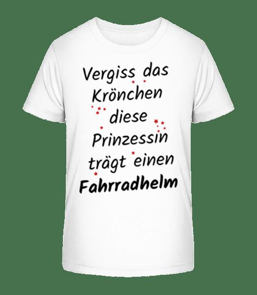 Prinzessin Trägt Fahrradhelm - Kinder Premium Bio T-Shirt - Weiß - Vorn