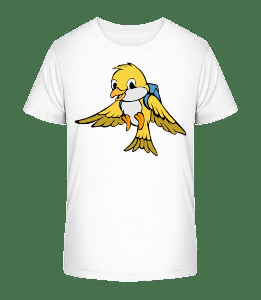 Cute Bird With Bag - Kid's Premium Bio T-Shirt - White - Vorn