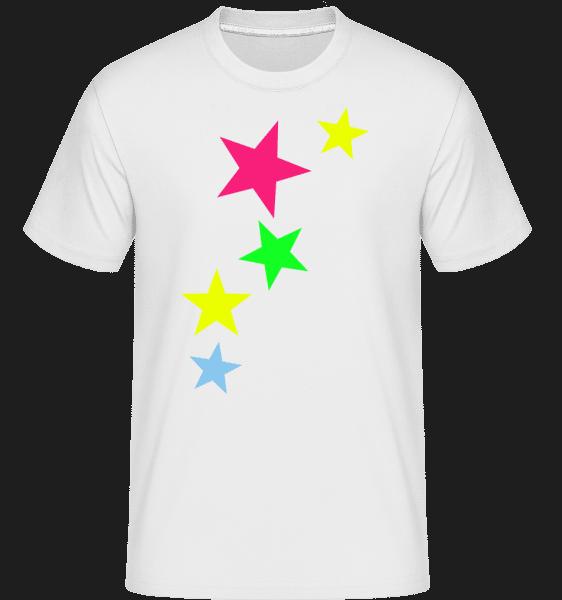 Bunte Sterne - Shirtinator Männer T-Shirt - Weiß - Vorn