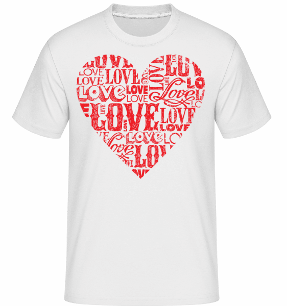 Love Heart Red - Shirtinator Männer T-Shirt - Weiß - Vorn