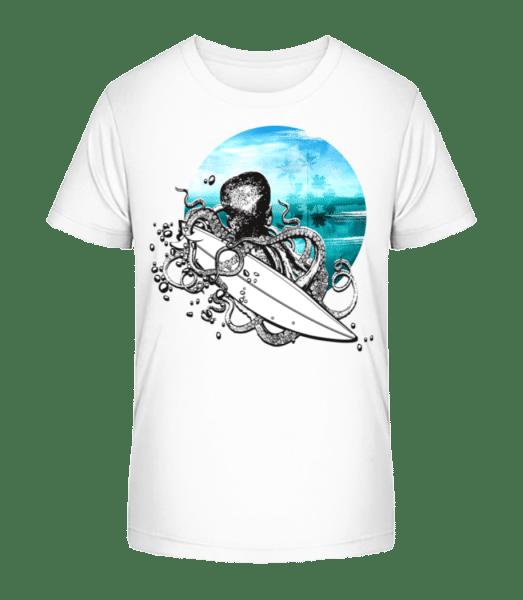 Surfer Octopus - Kid's Premium Bio T-Shirt - White - Front