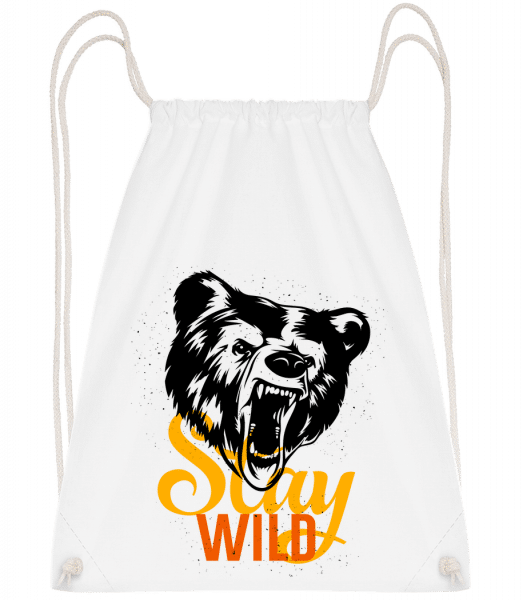 Stay Wild - Drawstring Backpack - White - Vorn