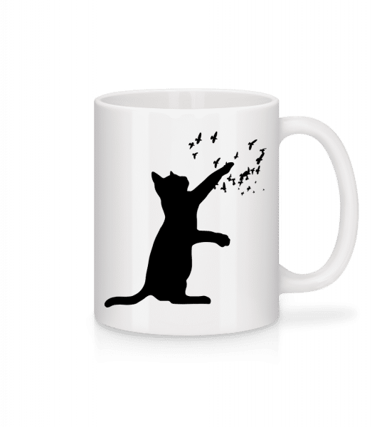 Cat And Birds - Mug - White - Vorn