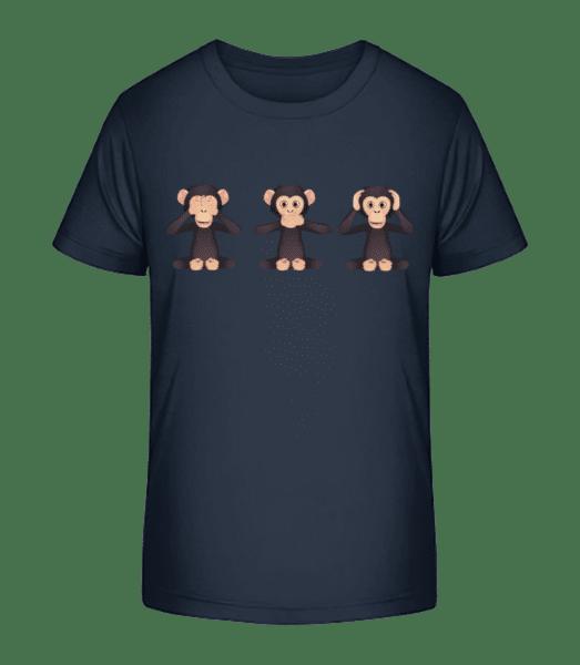 Blinder Tauber Stummer Affe - Kinder Premium Bio T-Shirt - Marine - Vorn