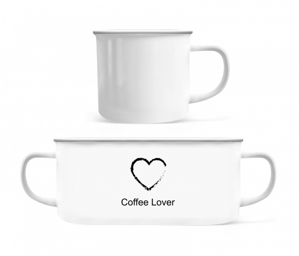 Coffee Lover Heart - Enamel-cup - White - Front