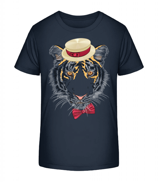 Tiger With Hat - Kid's Premium Bio T-Shirt - Navy - Vorn