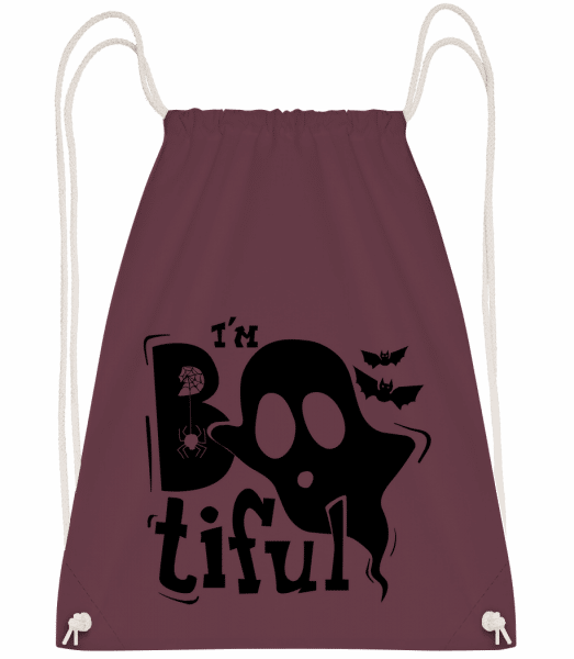 I'm Bootiful Halloween - Drawstring Backpack - Bordeaux - Vorn