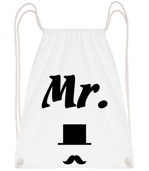 Mr. Wedding - Drawstring Backpack - White - Vorn