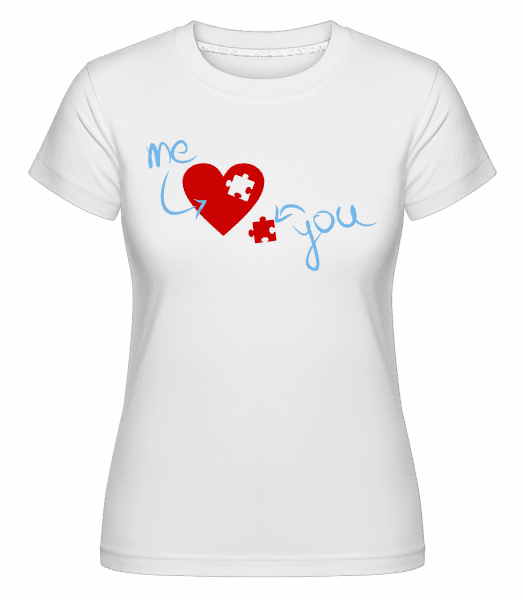 I Love You Puzzle Heart - Shirtinator Frauen T-Shirt - Weiß - Vorn
