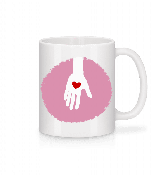 Hand With Heart - Mug - White - Vorn