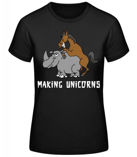 Making Unicorns - Women's Basic T-Shirt - Black - Front