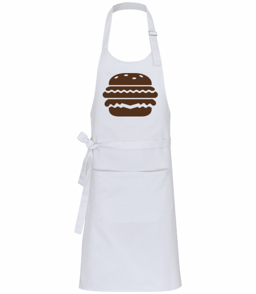 BBQ Burger Brown - Professional Apron - White - Front