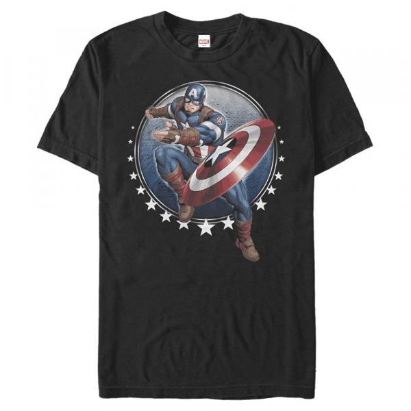 Captain Toss Captain America - Marvel Avengers - Men's T-Shirt - Black - Front