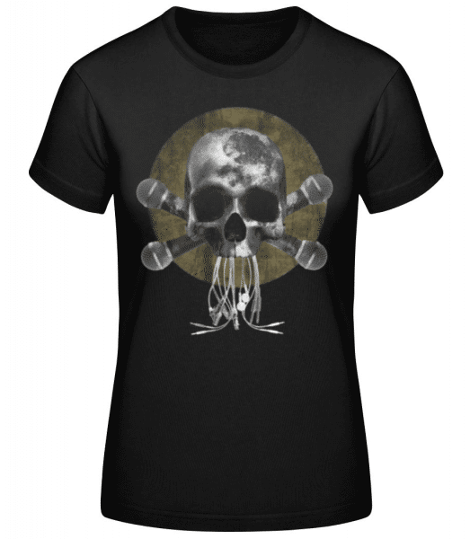 Skull With Microphones - Women's Basic T-Shirt - Black - Front
