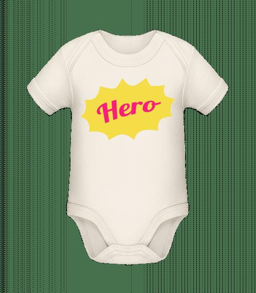 Hero Icon - Baby Bio Strampler - Creme - Vorn