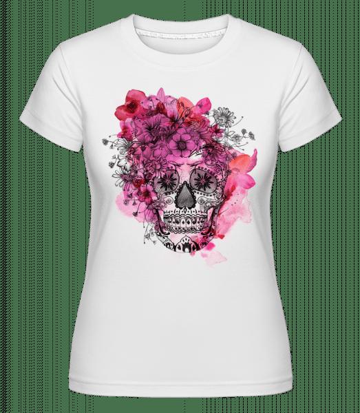Día de los Muertos Skull -  Shirtinator tričko pro dámy - Bílá - Napřed