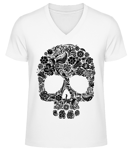 Flower Skull - Men's V-Neck Organic T-Shirt - White - Vorn