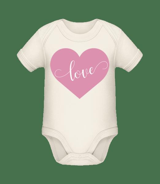 Love - Baby Bio Strampler - Creme - Vorn