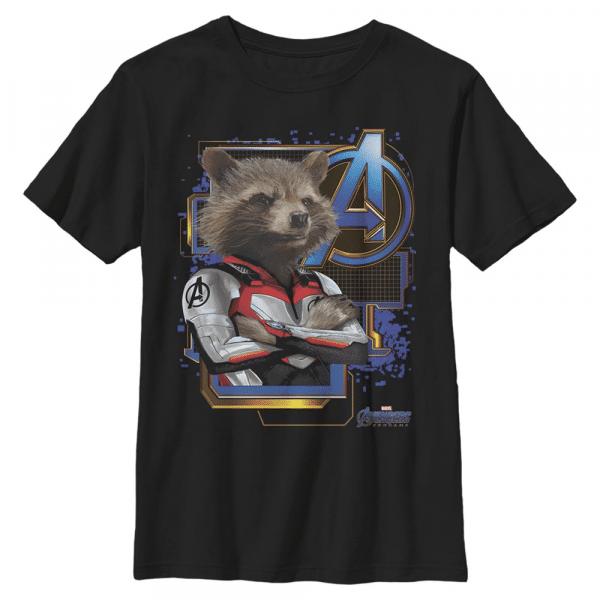 Space Raccon Rocket - Marvel Avengers Endgame - Kids T-Shirt - Black - Front