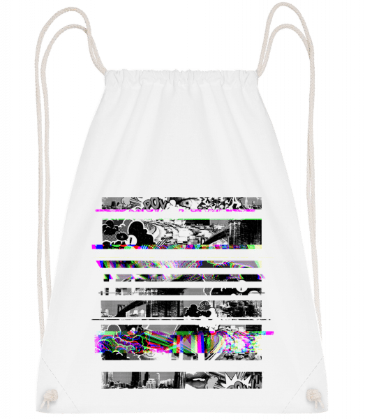 Broken Image - Drawstring Backpack - White - Vorn