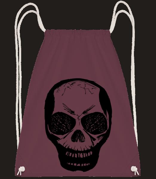 Skull Black - Drawstring Backpack - Bordeaux - Vorn
