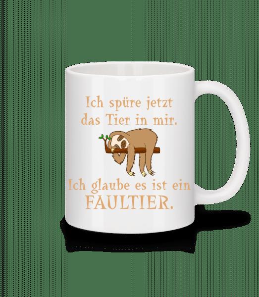 Das Tier In Mir Ist Ein Faultier - Tasse - Weiß - Vorn