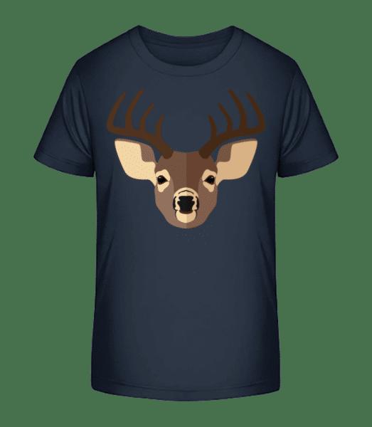 Hirsch Comic Schatten - Kinder Premium Bio T-Shirt - Marine - Vorn